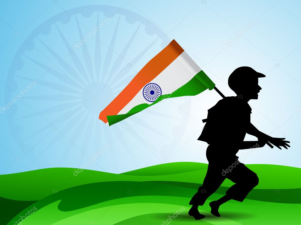 Abstract Indian Flag background with silhouette of running soldi    Indian Army Soldier With Flag