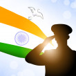 Saluting soldier silhouette on Indian Flag waving background. EP — Stock Vector #11782088
