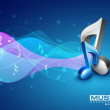 3D music notes on colorful grungy background. EPS 10. — Stock Vector