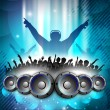 Disc Jockey with speakers and dancing peoples silhouette. EPS 10. — Stock Vector