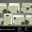 Постер, плакат: Complete set of wedding invitations or announcements with floral