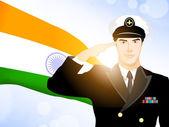 印度国旗挥舞着背景上的行礼士兵剪影。ep — 图库矢量图片