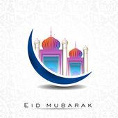 Eid mubarak hintergrundmusik mit moschee und masjid auf blue moon. eps — Stockvektor