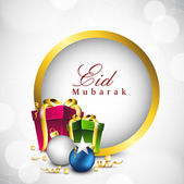 Beautiful Eid Mubarak background with gift boxes and space for m — Stock Vector