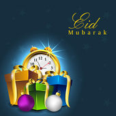 Beautiful Eid Mubarak background with gift boxes, clock and spac — Stock Vector