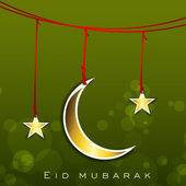 Shiny Eid Mubarak background with hanging golden Moon and Stars. — Stock Vector