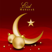 Eid Mubarak background with golden Moon and Stars on red. EPS 10 — Stock Vector