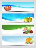 Health and nutrition website banner or header set. EPS 10. — Stock Vector
