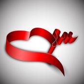 San valentín, corazón con cinta roja. — Vector de stock