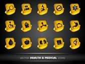Medical icons set on grey background. EPS 10. — Vecteur