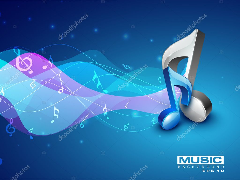 3d Colorful Music Notes Wallpaper: 3D Music Notes On Colorful Grungy Background. EPS 10