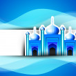 Golden Mosque or Masjid on beautiful shiny blue background with — Stock Vector