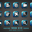 Vector illustration of 3D, web 2.0 mail icons set in black and b — Stock Vector #11859982