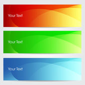 Vector illustration of banners or website headers with green, or — Stock Vector