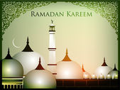 Ramadan Kareem background with Mosque or Masjid and Moon. EPS 10 — Cтоковый вектор