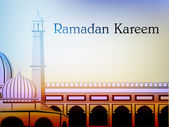Ramadan Kareem background with Mosque or Masjid. EPS 10. — Stock Vector