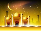 Golden Mosque or Masjid on beautiful shiny background with moon — Stock Vector
