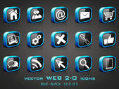 Vector illustration of 3D, web 2.0 mail icons set in black and b — Stock Vector