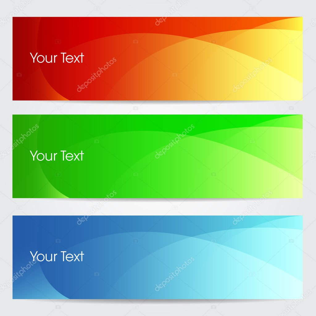 Vector illustration of banners or website headers with green, orenge and blue color wave. EPS 10 format — Stock Vector #11859727