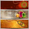 Website headers or banners for Raksha Bandhan celebration. — Stock Vector