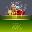 Stock Vector: Beautiful Eid Mubarak greeting card with gift boxes and candles.