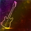 Guitar with neon lights on colorful grungy background. EPS 10. — Stock Vector