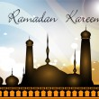 Colorful background of Ramadan Kareem with Mosque or Masjid. EPS — Stock Vector