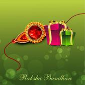 Illustration of gift boxes with golden ribbon and Rakhi for Raks — Stock Vector