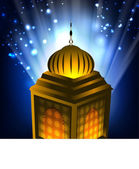 Intricate Arabic lamp on shiny background. EPS 10. — Stock Vector