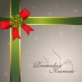 Beautiful greeting card of Ramadan Kareem with ribbon. EPS 10. — Stock Vector