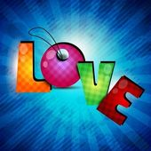 Colorful text Love on rays background. EPS 10. — Stockvector