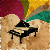 Piano on colorful grungy background. EPS 10. — Stock Vector