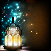 Intricate Arabic lamp with lights on shiny background. EPS 10. — Stock Vector