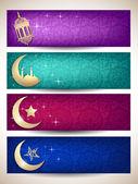 Stronie nagłówki lub banery na ramadan lub eid. eps 10. — Wektor stockowy