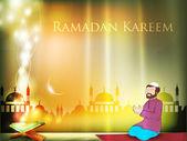 Muslim men reading Namaj with Koran or Quran and shiny moon, mos — Stock Vector