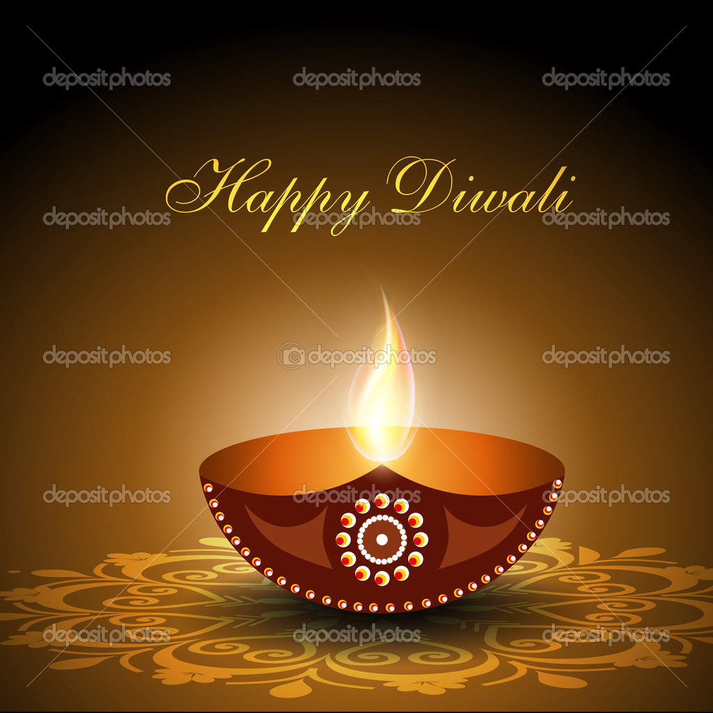 Beautiful illuminating Diya background for Diwali or Deepawali f