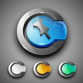 Glossy 3D web 2.0 thumbtack symbol icon set. EPS — Stock Vector