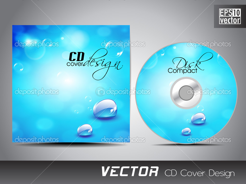 cd cover presentation design template with copy space and water stock vector alliesinteract. Black Bedroom Furniture Sets. Home Design Ideas