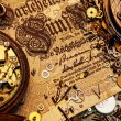 The gears on the old banknote — Foto Stock