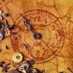 在旧的纹理纸上时钟邮票 — 图库照片