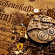 图库照片: The gears on the old banknote