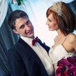Close-up of an attractive couple on their wedding day — Stock Photo