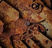 Close-up of an ancient gears mechanism — Stock Photo