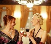 Two attractive lady on a party — Stock Photo