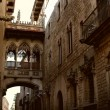 Gothic bridge in Barri Gotic, Barcelona - Stock Photo
