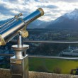 A telescope for observation of Salzburg city — Stock Photo #12373536