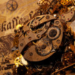 The gears on the old banknote — Foto de Stock