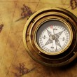 Vintage compass on the old map — Stock Photo #12373967