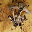 Sextant on the old map - Stock Photo