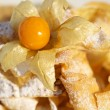 Delicious pancakes with physalis — Stock Photo